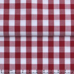 MorCouture Gingham High Collar Shirt -Red
