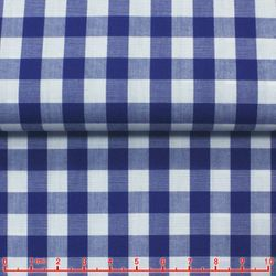 MorCouture Gingham High Collar Shirt -Royal Blue