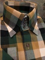MorCouture Gold Green Check High Collar Shirt w/Hanky S(14.5 - 15)