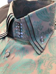 MorCouture Gold Green Paisley Triple Centipede Collar Shirt -special order