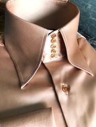 MorCouture Gold Satin High Collar Shirt