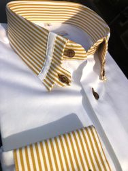 MorCouture Gold Striped Tab Collar Shirt