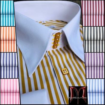 MorCouture Gold White Stripe high Collar Shirt (several color options)
