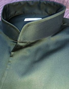 MorCouture Green Band Collar Shirt (other colors available)