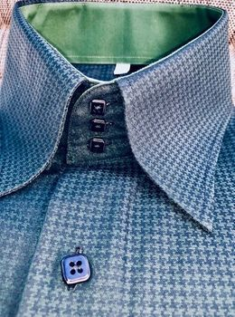 MorCouture Green Black Houndstooth High Collar Shirt