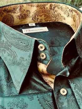 MorCouture Green Gold Paisley Shirt (over 200 color options)