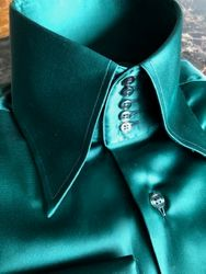 MorCouture Green Satin High Collar Shirt