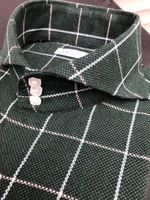 MorCouture Green White Windowpane Cutaway Collar Shirt