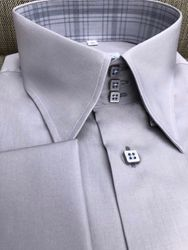 MorCouture Grey High Collar Shirt