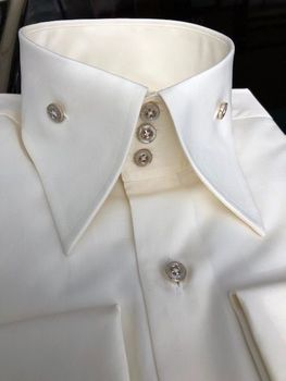 MorCouture Ivory Gold Buttons Shirt