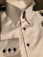MorCouture Ivory Twill High Collar Shirt sizeXL