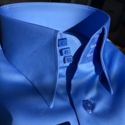 MorCouture Light Blue High Collar Shirt