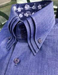 MorCouture Light Denim Triple Collar Shirt