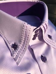 MorCouture Light Lavender Triple Stitch Collar Shirt