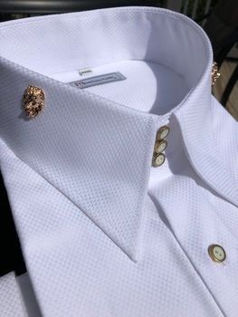 MorCouture Limited Edition White Lion High Collar Shirt
