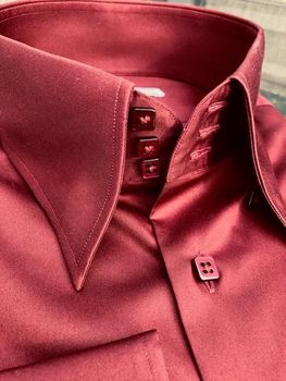 MorCouture Maroon High Collar shirt