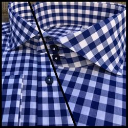 MorCouture Navy Gingham Spread Collar Shirt