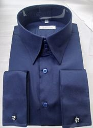 MorCouture Navy High Collar shirt