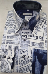MorCouture Navy Newspaper Print Shirt