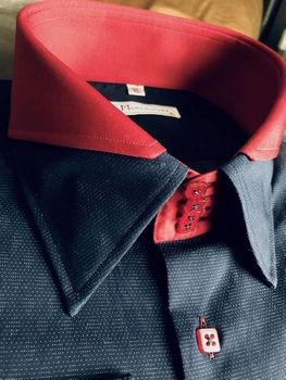 MorCouture Navy Red Split High Collar Shirt