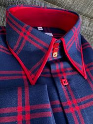 MorCouture Navy Red Trim Plaid High Collar Shirt -Limited Edition