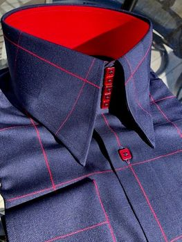 MorCouture Navy Red Wide Windowpane Centipede Shirt