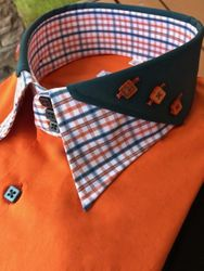 MorCouture Orange Green Split Collar Shirt
