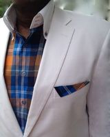 The MorCouture Limited Edition Orange Plaid High Collar Shirt w/Hanky S