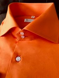 MorCouture Orange Spread Collar Shirt
