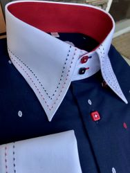MorCouture Patriot Double Stitched High Collar Shirt
