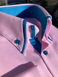 MorCouture Pink Blue Triple Stitch Collar Shirt