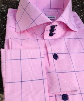 MorCouture Pink Navy Windowpane Spread Collar Shirt.