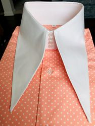 MorCouture Pink Polka Dot Ultra Spread Couture Collar Shirt