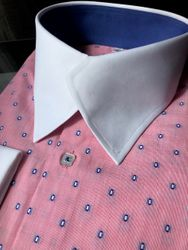 MorCouture Pink Swerve Collar Shirt