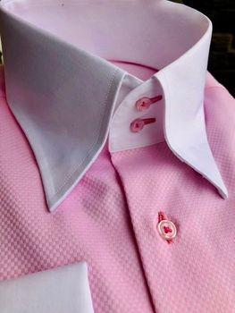 MorCouture Pink White Contrast High Collar Shirt -special order