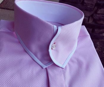 MorCouture Pink Woven White Trim Casanova Collar Shirt