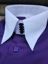 MorCouture Purple Contrast High Collar Shirt