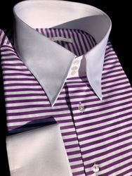MorCouture Purple Horizontal Stripe High Collar Shirt(19 color options)