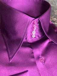 MorCouture Purple Satin Centipede Collar Shirt
