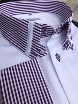 MorCouture Purple Striped Tab Collar Shirt