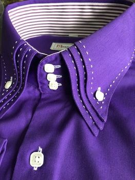MorCouture 3 Button Purple White Triple Stitch Collar Shirt