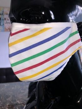 MorCouture Rainbow Herringbone Stripe Mask