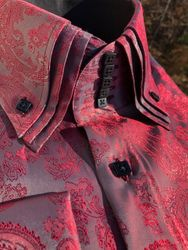 MorCouture Raspberry Paisley Triple Centipede Collar Shirt -special  order