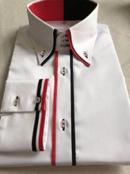 MorCouture Red Black Accent High Collar Shirt