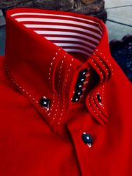 MorCouture Red Black Triple Centipede Stitch Shirt