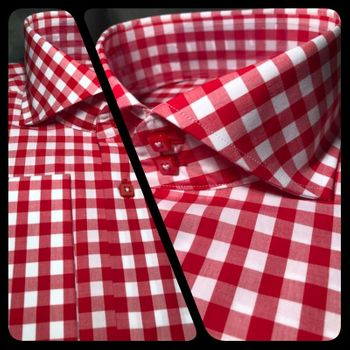 MorCouture Red Gingham Spread Collar Shirt