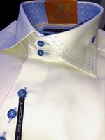 Axxess Light Yellow Blue Accent Spread Collar Shirt