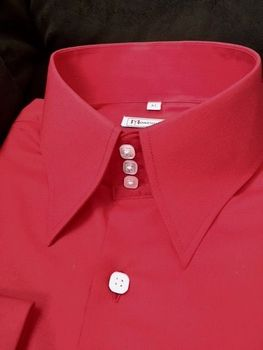 MorCouture Red High Collar Shirt
