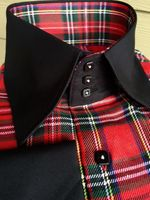 MorCouture Red Plaid Black Trim High Collar Shirt w/Hanky (S)14.5 - 15