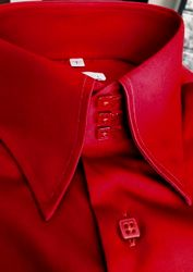 MorCouture Red Red High Collar Shirt
